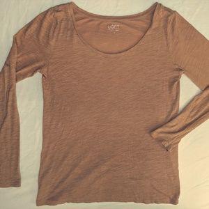 Ann Taylor Tan Loft Textured Long-Sleeve Top